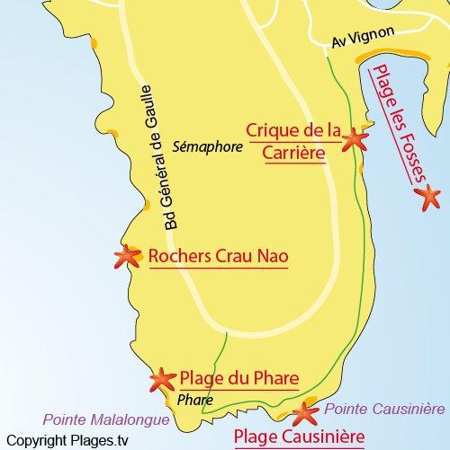 Map of Causinière Cove in Cap Ferrat