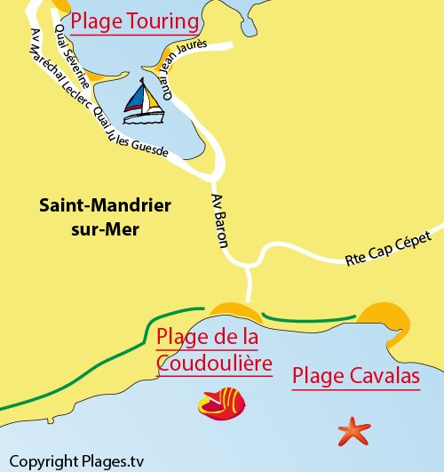 Map of Cavalas Beach in Saint Mandrier