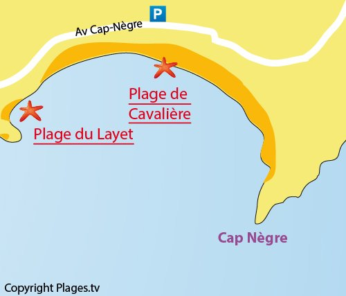 Map of the Cavaliere Beach in Lavandou