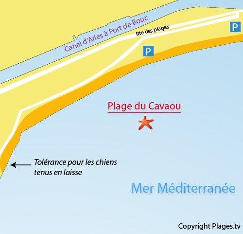 Map of Cavaou Beach in Fos sur Mer