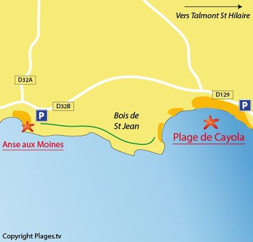 Plan des plages dans l'anse de Cavola à Château d'Olonne