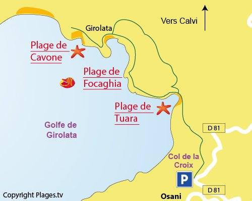Map of Cavone beach in Corsica