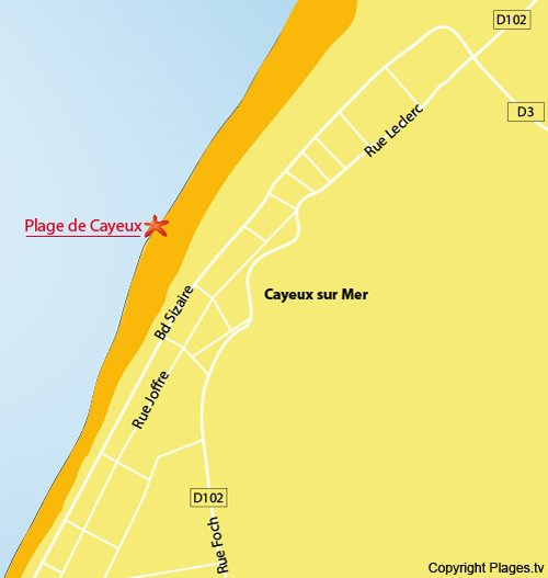 Map of Cayeux sur Mer beach in France