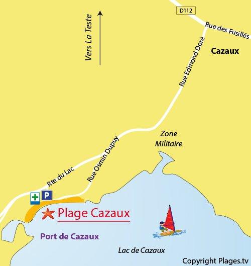Carte de la plage du lac de Cazaux