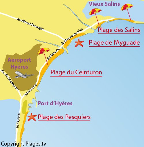 Map of Ceinturon beach in Hyères in France