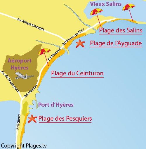 Mappa della Spiaggia del Ceinturon a Hyères