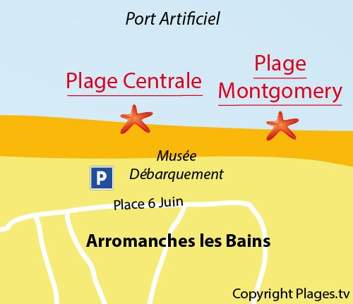Map of Central Beach in Arromanches les Bains