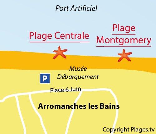 Carte de la plage centrale d'Arromanches les Bains