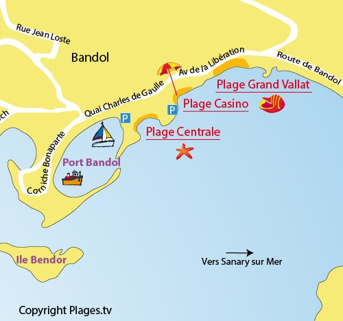 Map of the Central beach of Bandol
