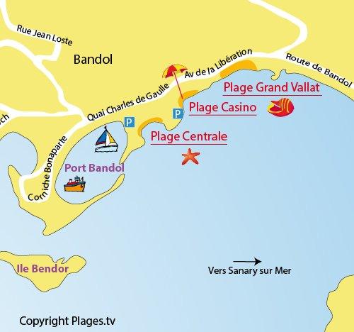 Carte de la plage Centrale de Bandol