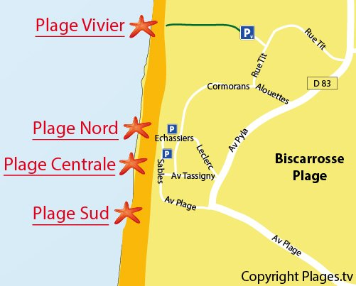 Map of Central Beach in Biscarrosse