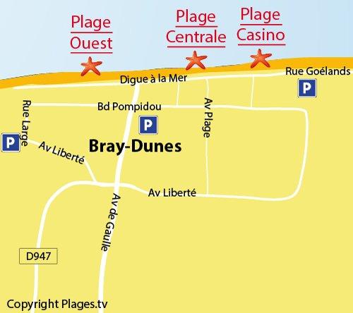 Carte de la plage centrale de Bray Dunes