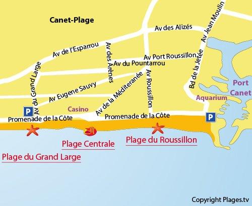 Mappa della Spiaggia Centrale a Canet en Roussillon - Francia