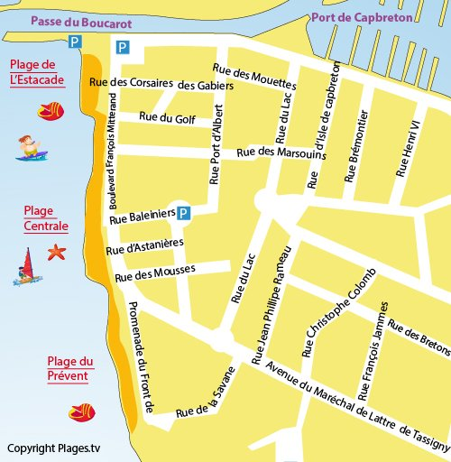 Map of Central Beach in Capbreton
