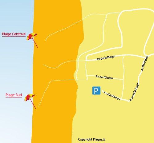Mappa della spiaggia Centrale di Carcans