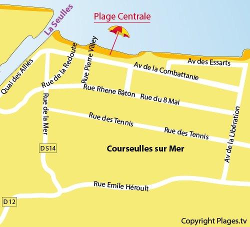 Carte de la plage du centre ville de Courseulles