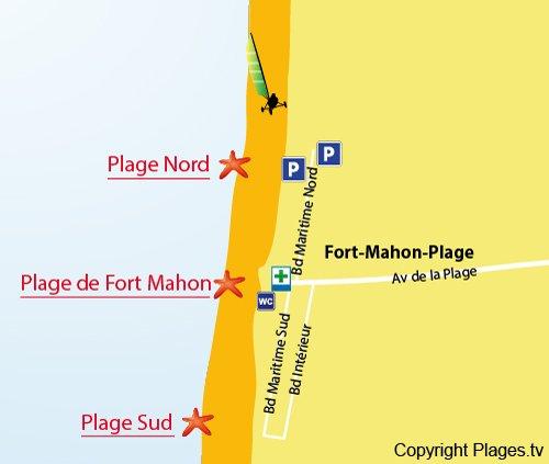 Carte de la plage du centre ville de Fort Mahon