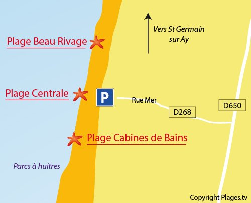 Map of Central Beach in Gouville sur Mer