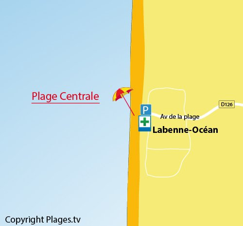 Map of Central Beach in Labenne - France
