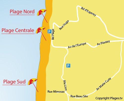 Plan de la plage Centrale de Lacanau-Océan