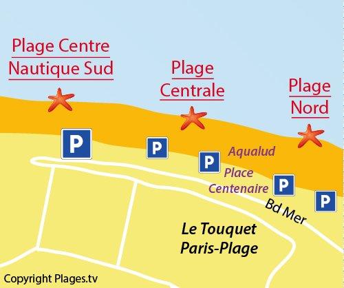 Carte de la plage centrale du Touquet