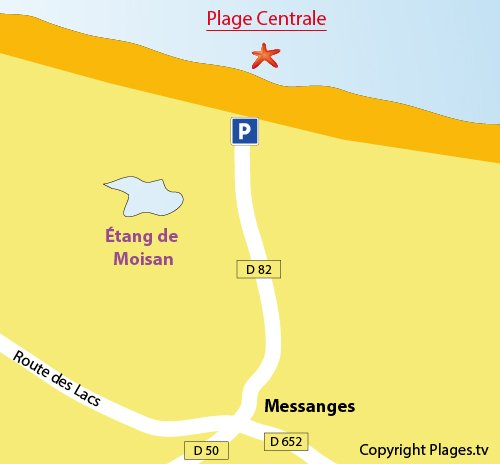 Map of Central Beach in Messanges