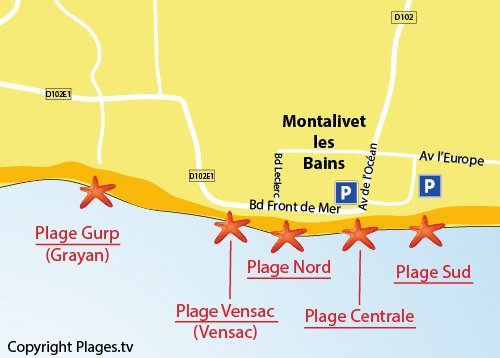 Map of Central Beach in Montalivet