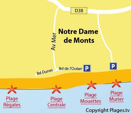 Map of Central Beach in Notre Dame de Monts
