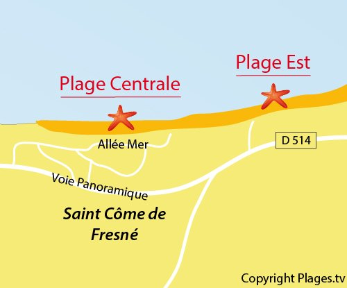 Map of Central Beach in St Come de Fresné