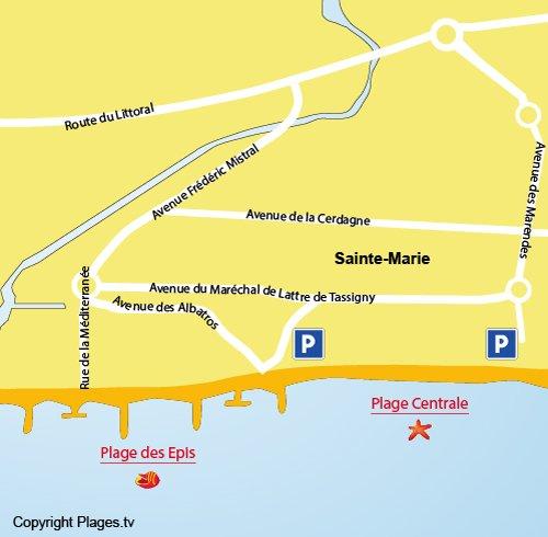Plan de la plage Centrale de Ste Marie dans les Pyrénées Orientales