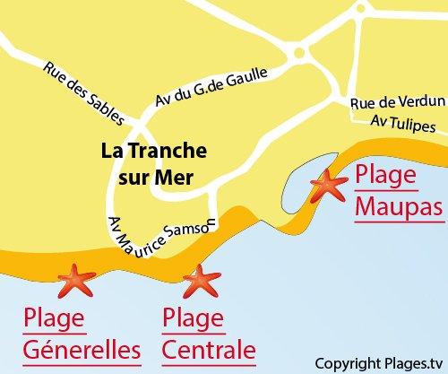 Carte de la plage centrale de La Tranche sur Mer