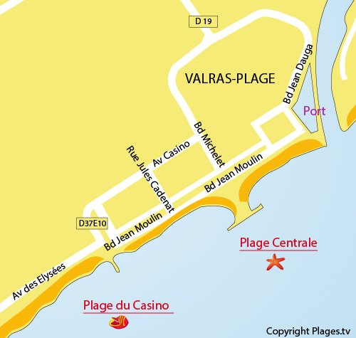 Map of Central Beach in Valras