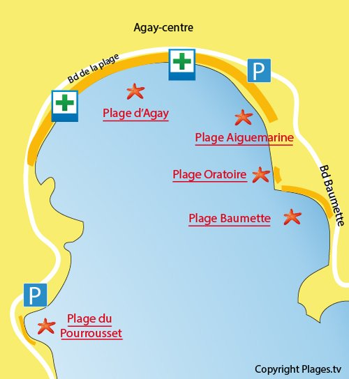 Map of Agay Beach in France