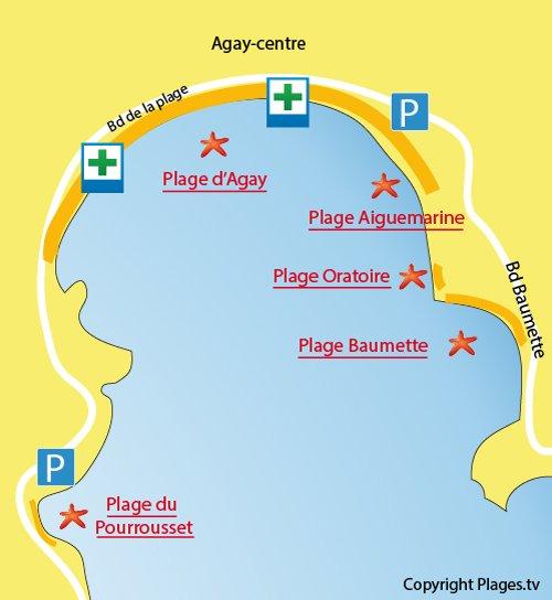 Plan de la plage du centre d'Agay dans le Var