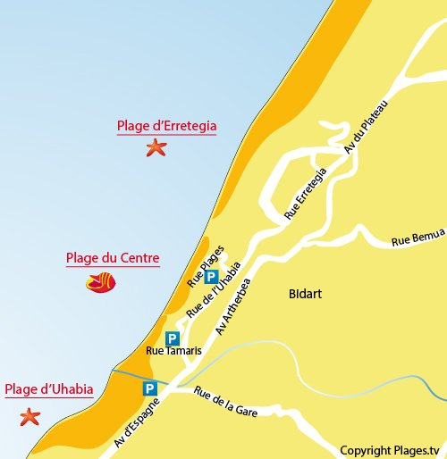 Map of Central Beach of Bidart