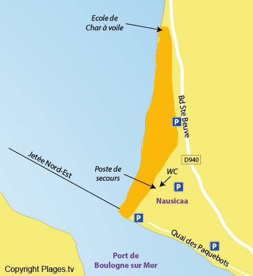 Map of the Boulogne sur Mer beach in France