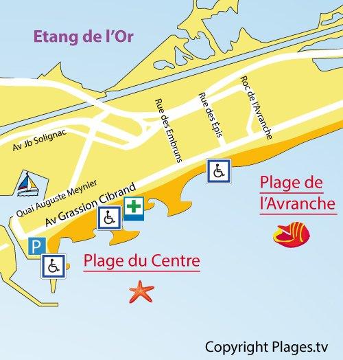 Mappa della Spiaggia del Centro a Carnon-Plage