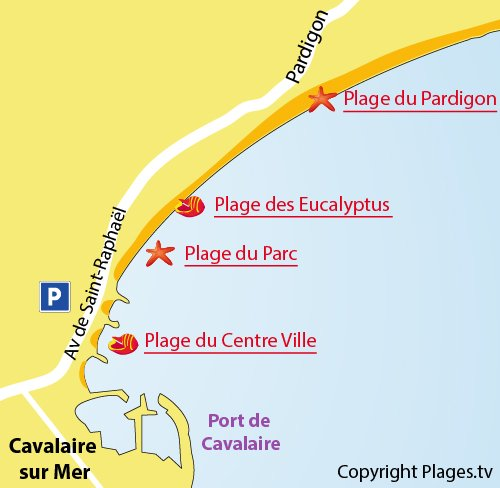 Carte de la plage du centre ville de Cavalaire sur Mer