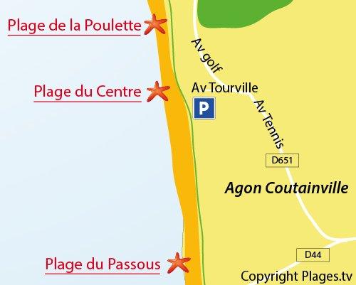Carte de la plage du Centre de Coutainville