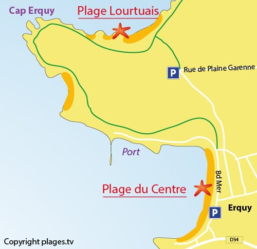 Map of Central Beach in Erquy