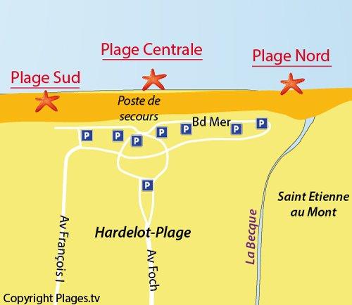 Carte de la plage du centre à Hardelot