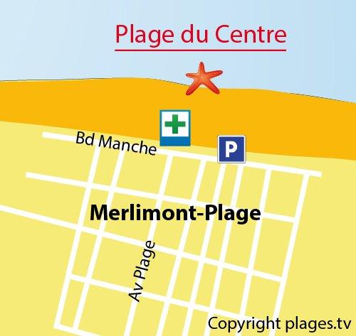 Carte de la plage du centre de Merlimont