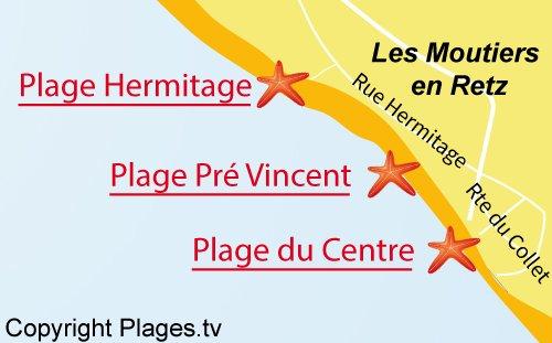 Carte de la plage du Centre - Les Moutiers en Retz