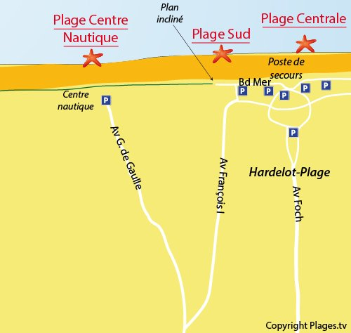 Map of the Nautical Center Beach in Hardelot