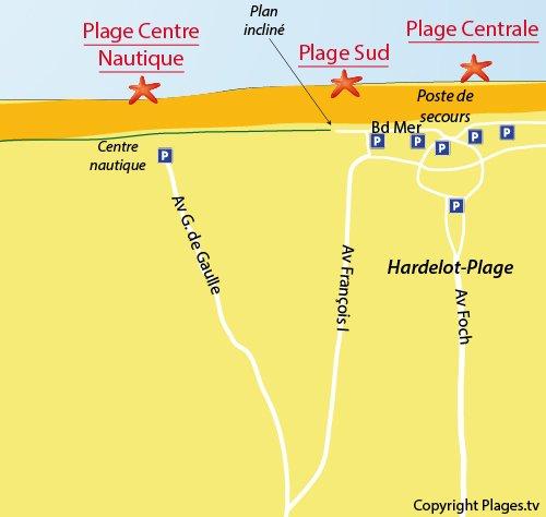 Carte de la plage du centre nautique d'Hardelot