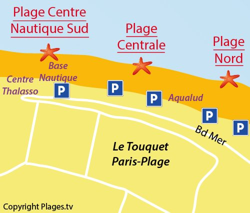 Map of Nautical Center Beach in Le Touquet