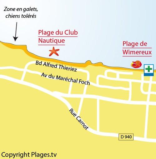 Carte de la plage du centre nautique de Wimereux