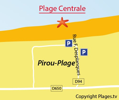 Map of Central beach of Pirou