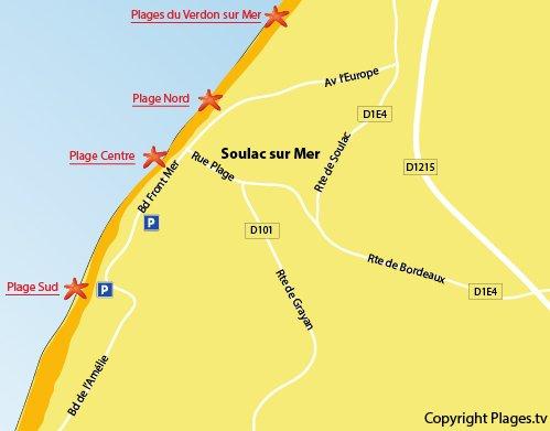 Plan de la plage du Centre de Soulac sur Mer