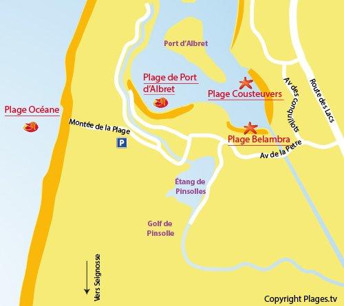 Carte de la plage du centre de Soustons